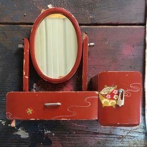 Miniature Painted Mirrored Vanity Antique '40s